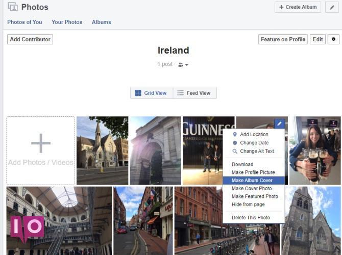 Définir la photo de couverture de l'album Facebook