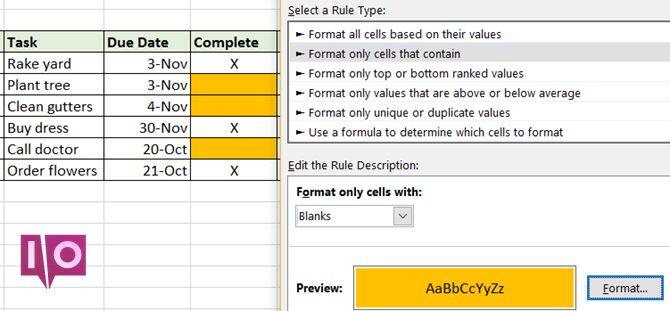 Formatage conditionnel Excel - Tâches personnelles