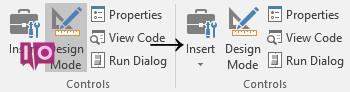 Commutateur de mode de conception Excel