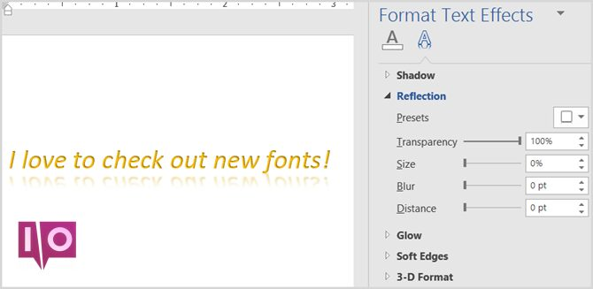 Font Reflections Word