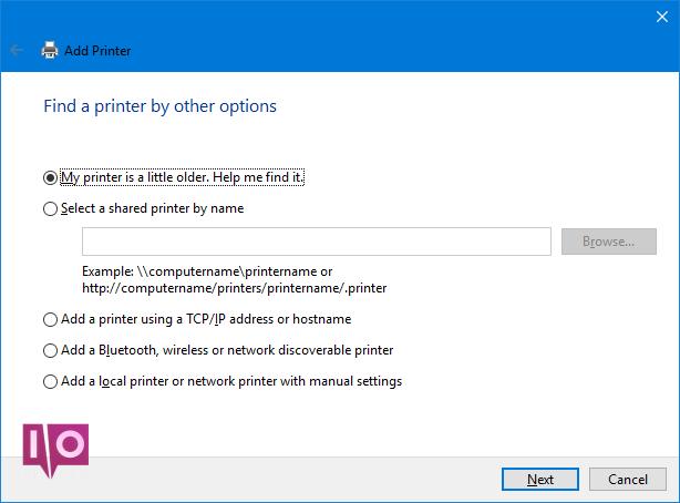 trouver une imprimante par d'autres options
