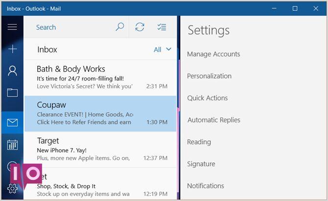 Applications Windows de bureau Outlook