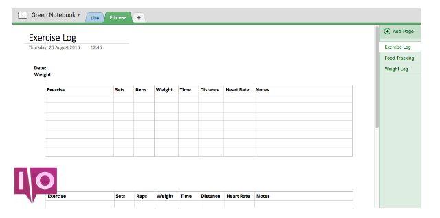 Capture d'écran d'exemple de journal de fitness OneNote