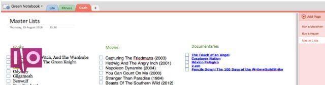 Capture d'écran d'exemple OneNote de listes principales