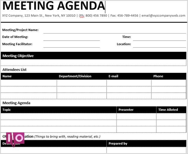 Modèle Microsoft Word de réunion formelle