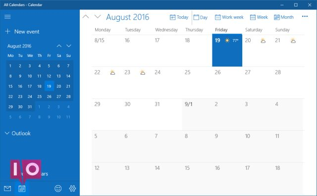 Application de calendrier Windows 10