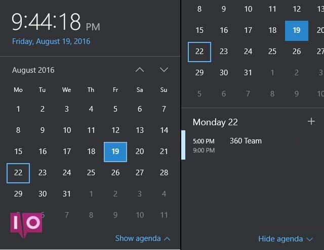 Calendrier de la barre des tâches Windows 10