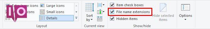 Extensions de nom de fichier Windows 10