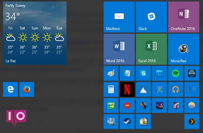 Menu Démarrer de Windows 10
