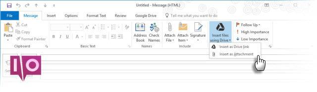 Plug-in Google Drive avec Microsoft Outlook