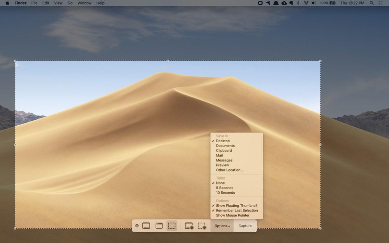 Shift-Command (⌘) -5 pour obtenir une barre de commande en bas de l'écran