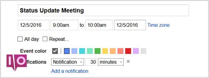 calendrier google set événement web