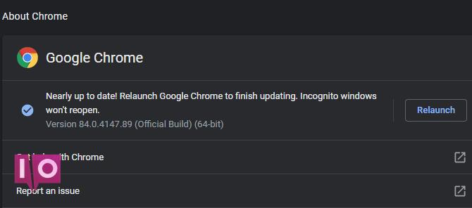 Chrome Check for Updates