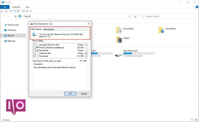 outil de nettoyage de disque en mode administrateur