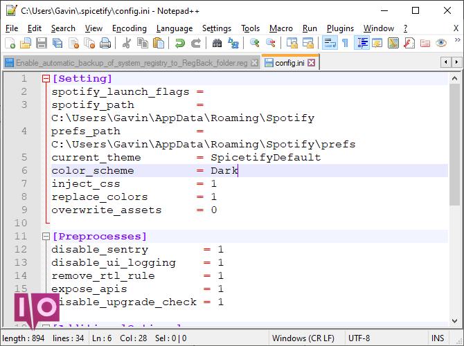 spicetify fichier de configuration principal