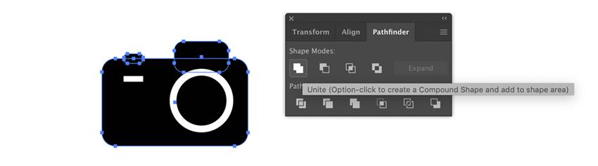 Réunissez toutes les formes noires dans Adobe Illustrator