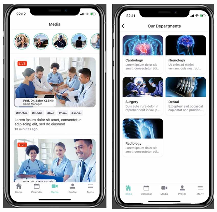 Application native React mobile pour hôpitaux médicaux