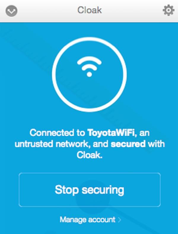 Un point d'accès Wifi public avec Cloak VPN activé