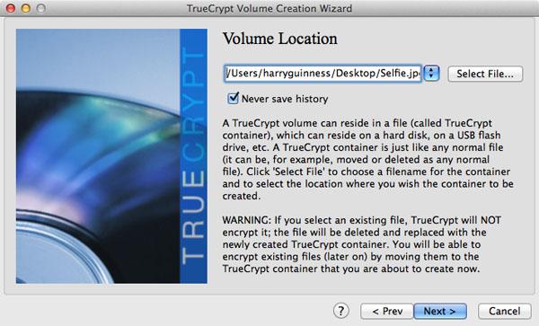 Définition de l'emplacement du volume TrueCrypt