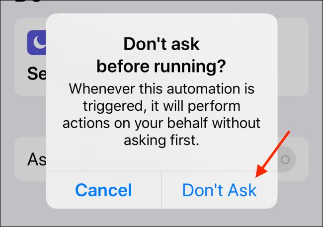 Appuyez sur le bouton Ne pas demander