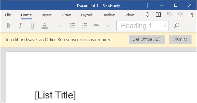 Word Mobile sur un ordinateur de bureau Windows 10