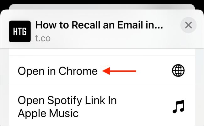 Appuyez sur Ouvrir dans Chrome à partir de la feuille de partage