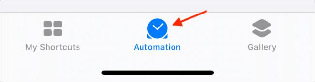 Appuyez sur l'onglet Automatisation dans les raccourcis