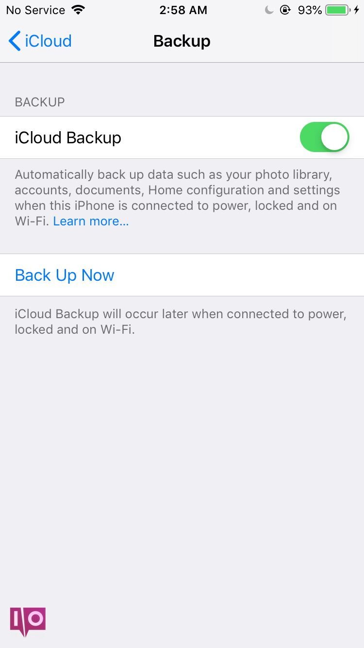 sauvegarder l'iPod sur icloud