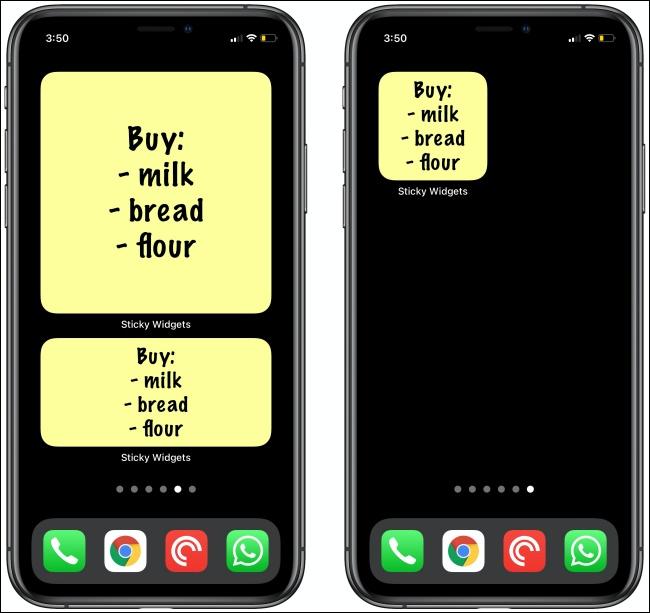 Listes d'épicerie dans Sticky Widgets pour iPhone.