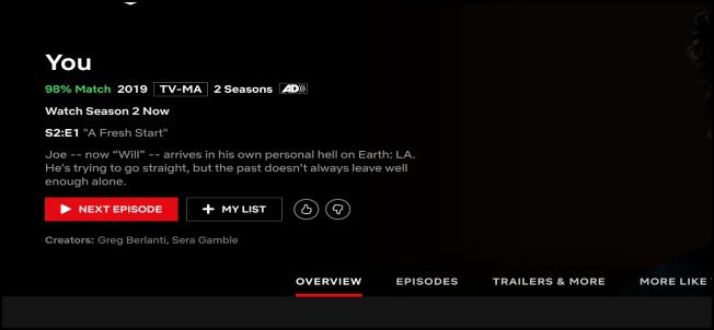 Écran Netflix Episode abspielen