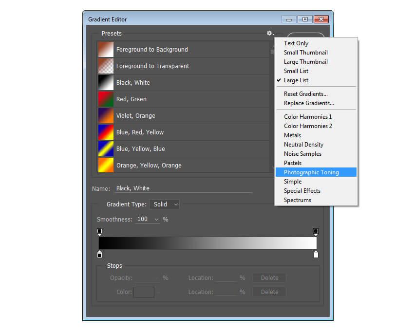 Ajouter les préréglages de dégradé de tonalité photographique