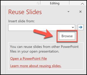 Cliquez sur le bouton Parcourir dans le menu Réutiliser les diapositives pour commencer à copier les diapositives d'une autre présentation