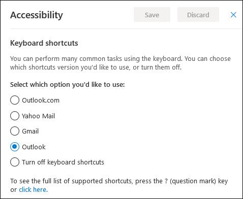 Les options d'accessibilité pour modifier les raccourcis