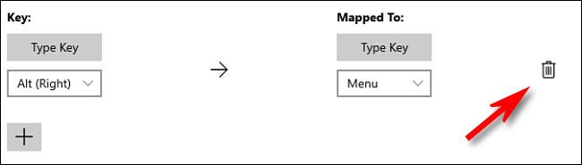 Cliquez sur l'icône de la corbeille pour supprimer un mappage de touches dans PowerToys.