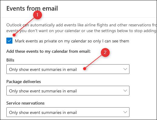 """Le panneau """"Evénements par e-mail""""."""