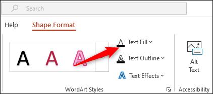 Sélectionnez l'option Remplissage de texte