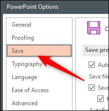 Enregistrer l'onglet dans la fenêtre Options Word Office