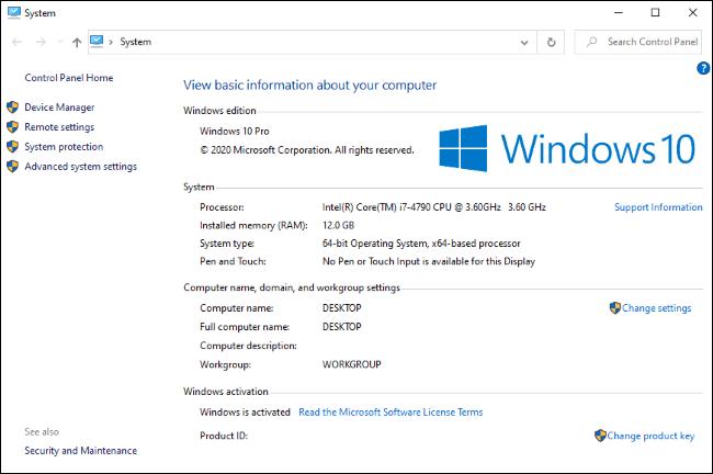 Le panneau de configuration système classique, qui est maintenant masqué sur Windows 10