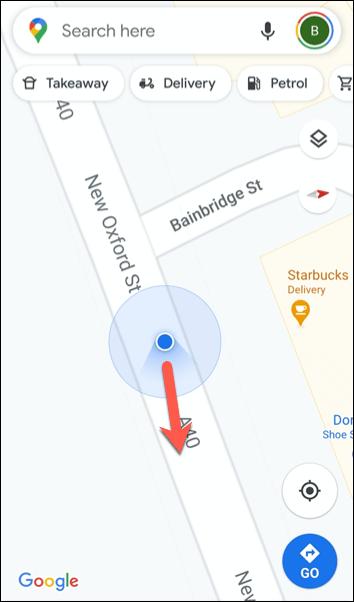 Das rote Symbol zeigt an, dass das Kompasssymbol nach Norden zeigt.