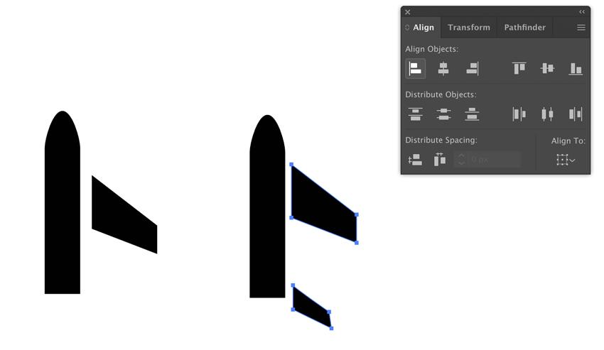 Dessin de l'aile et de la queue de l'avion dans Adobe Illustrator