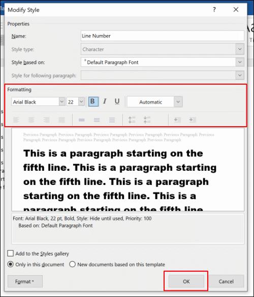 Modifiez les options de mise en forme du style de numéro de ligne, puis cliquez sur OK pour enregistrer
