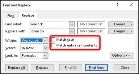Faire correspondre les options de casse et de contenu de cellule entière