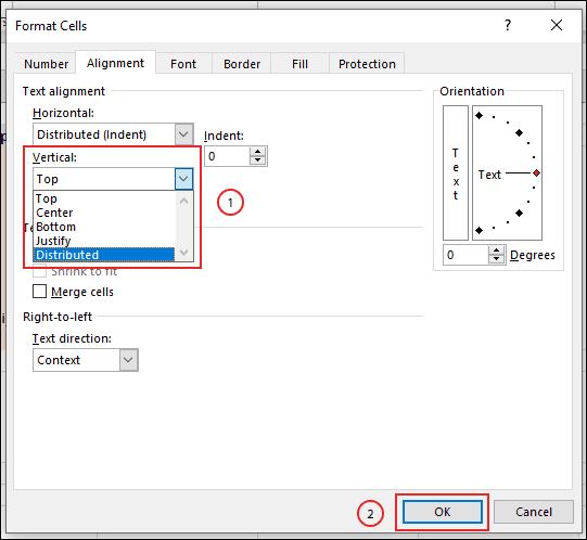 Sélectionnez vos options de retrait de texte en haut ou en bas dans le menu déroulant vertical de la zone de format des cellules