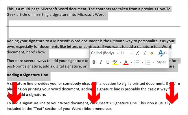 Pour sélectionner manuellement le contenu d'une page Microsoft Word, placez le curseur de votre document au début de la page, puis faites-le glisser vers le bas