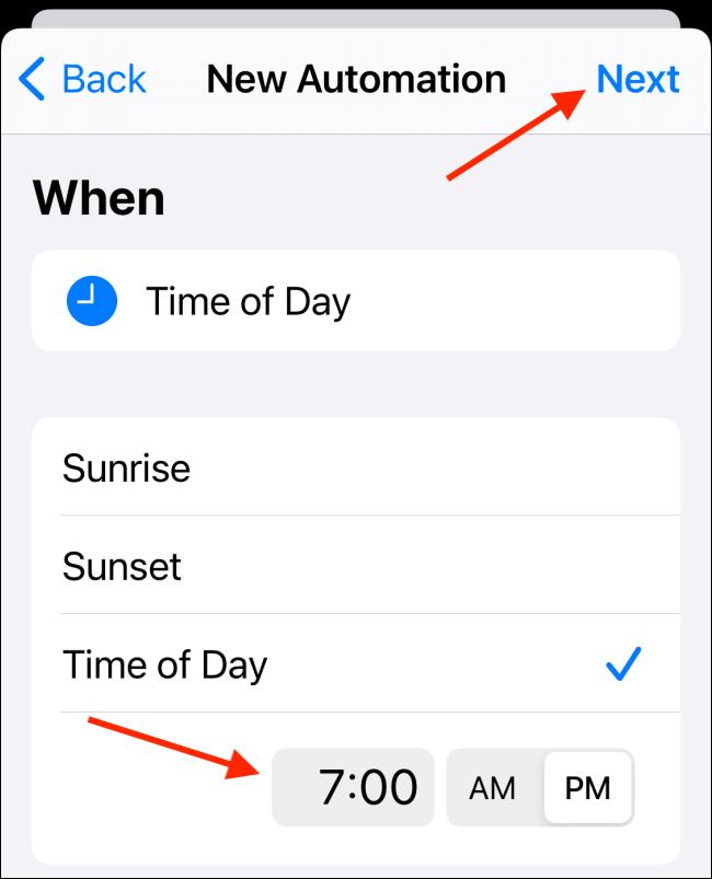 Sélectionnez l'heure et choisissez le bouton Terminé