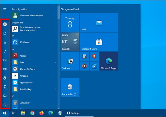 Die minimierte Seitenleiste für Verknüpfungen im Windows 10-Startmenü