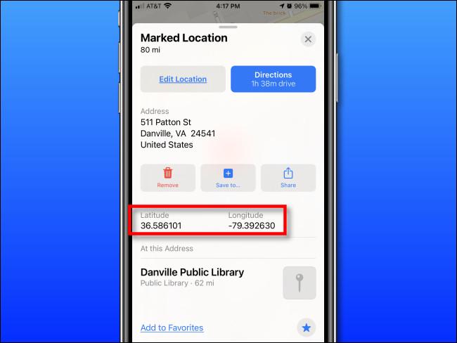 Latitude et longitude affichées dans Apple Maps sur iPhone
