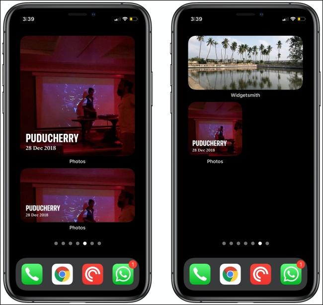 Widgets Photos sur deux iPhones.