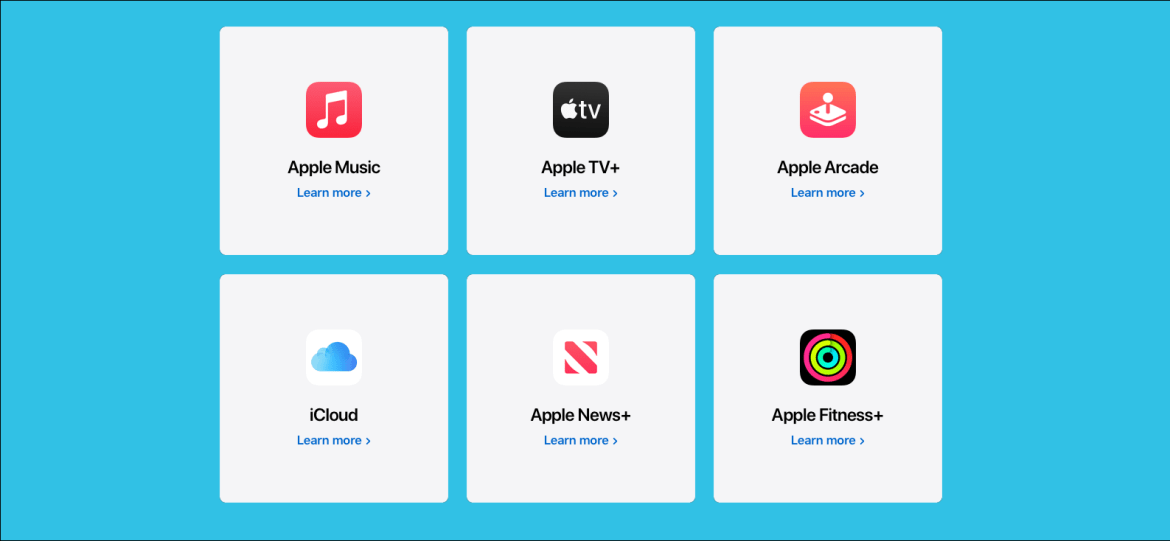 Un ensemble Apple One, comprenant Apple Music, Apple TV +, Apple Arcade, iCloud, Apple News + et Apple Fitness +.