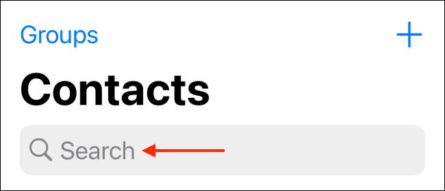 Tippen Sie auf der Registerkarte Kontakte auf die Suchleiste